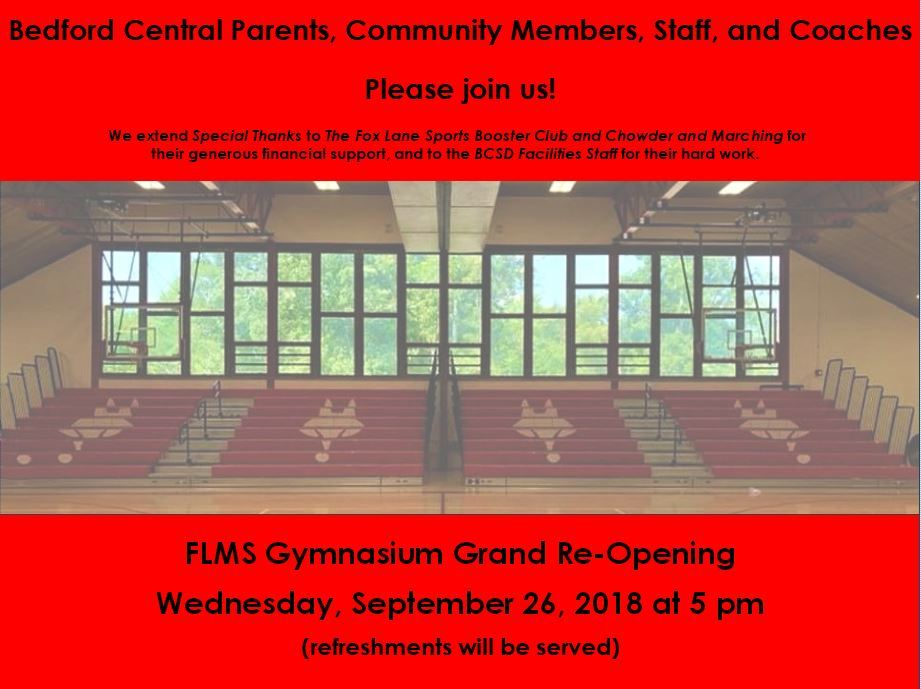 Grand Re-Opening FLMS Gym!